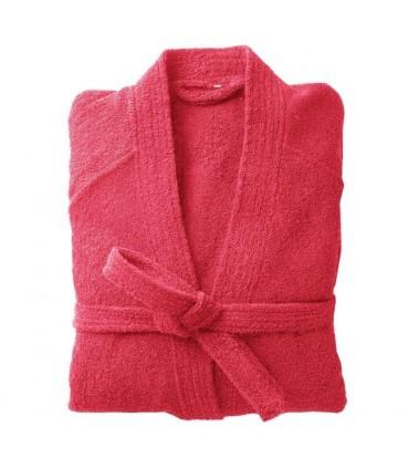 Peignoir brodé col kimono rouge