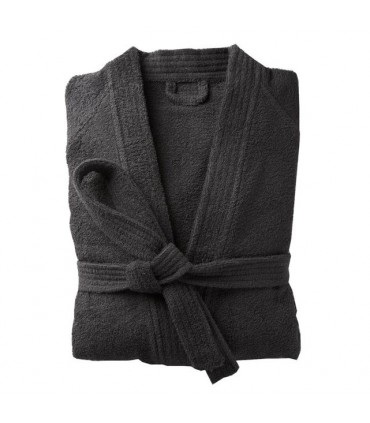 Peignoir brodé col kimono noir