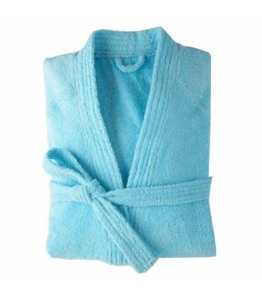 Peignoir brodé col kimono bleu azur
