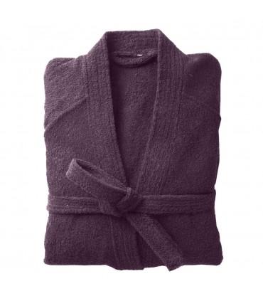 Peignoir brodé col kimono mauve