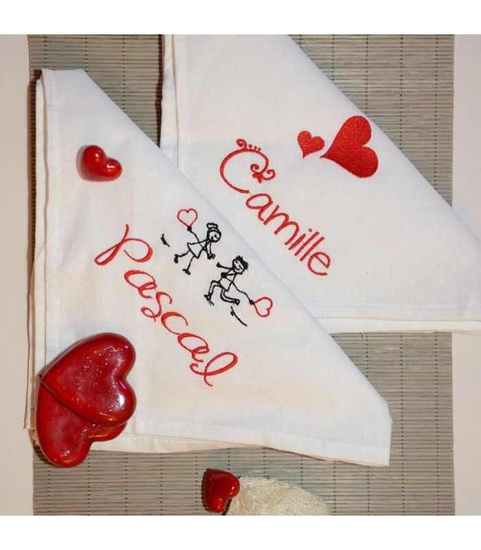 serviette de table saint valentin