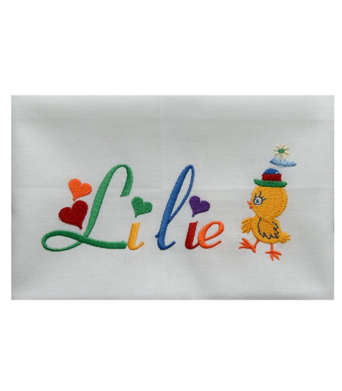 serviette de table brodée enfant