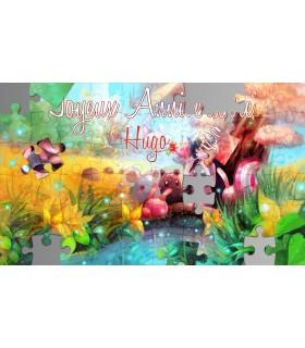 Carte postale anniversaire puzzle