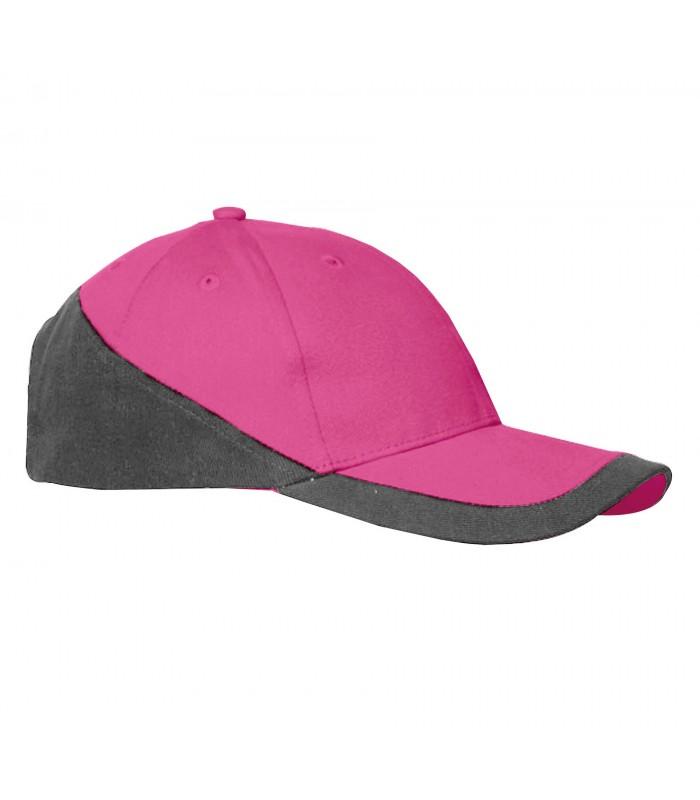 Casquette racing brodée sport rose et grise