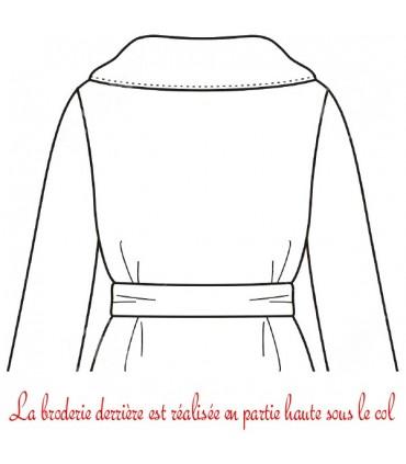 Peignoir brodé sur le dos col kimono