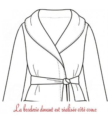 Peignoir brodé au niveau du coeur col kimono