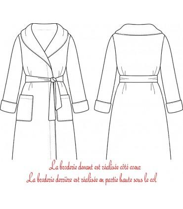 Peignoir personnalisé avec broderie col kimono