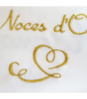 Serviette brodée noces d'or