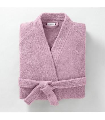 Peignoir brodé col kimono lilas
