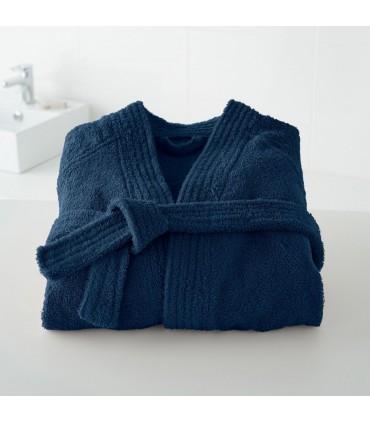 Peignoir brodé col kimono bleu foncé