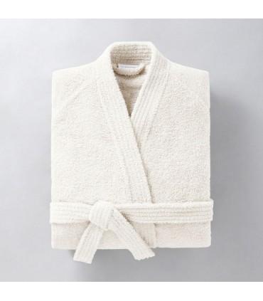 Peignoir brodé col kimono écru