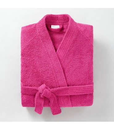 Peignoir brodé col kimono rose soutenu