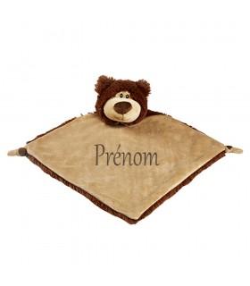 Doudou brodé ours brun