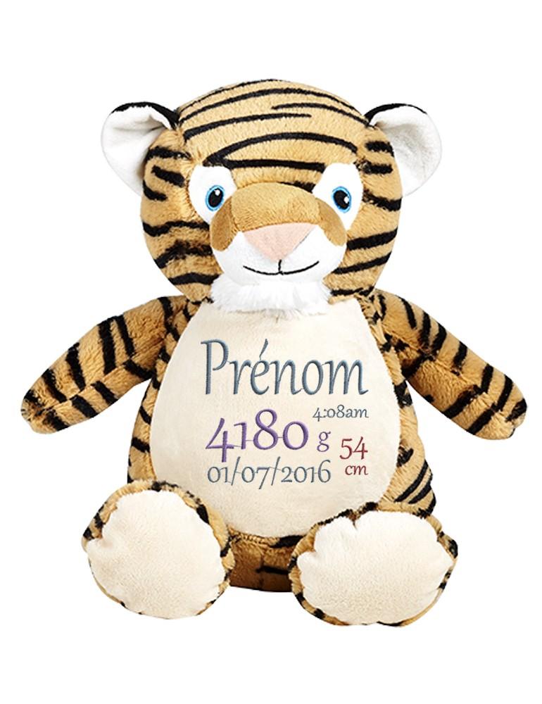 Tigre peluche brodé