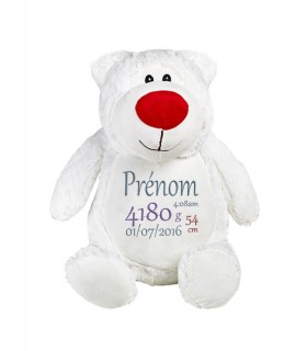 Peluche ours blanc brodé