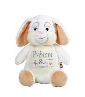 Peluche lapin blanc brodé