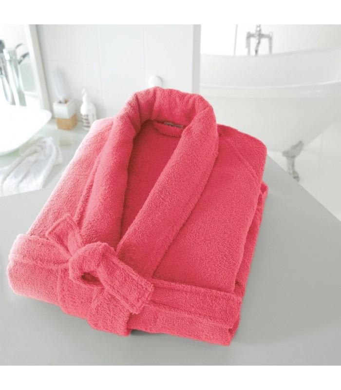Peignoir brodé avec prénom col chale rose