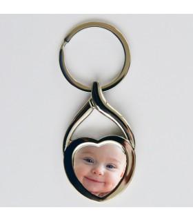 Porte clé argenté coeur photo