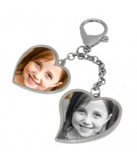 Porte clé photo coeur double