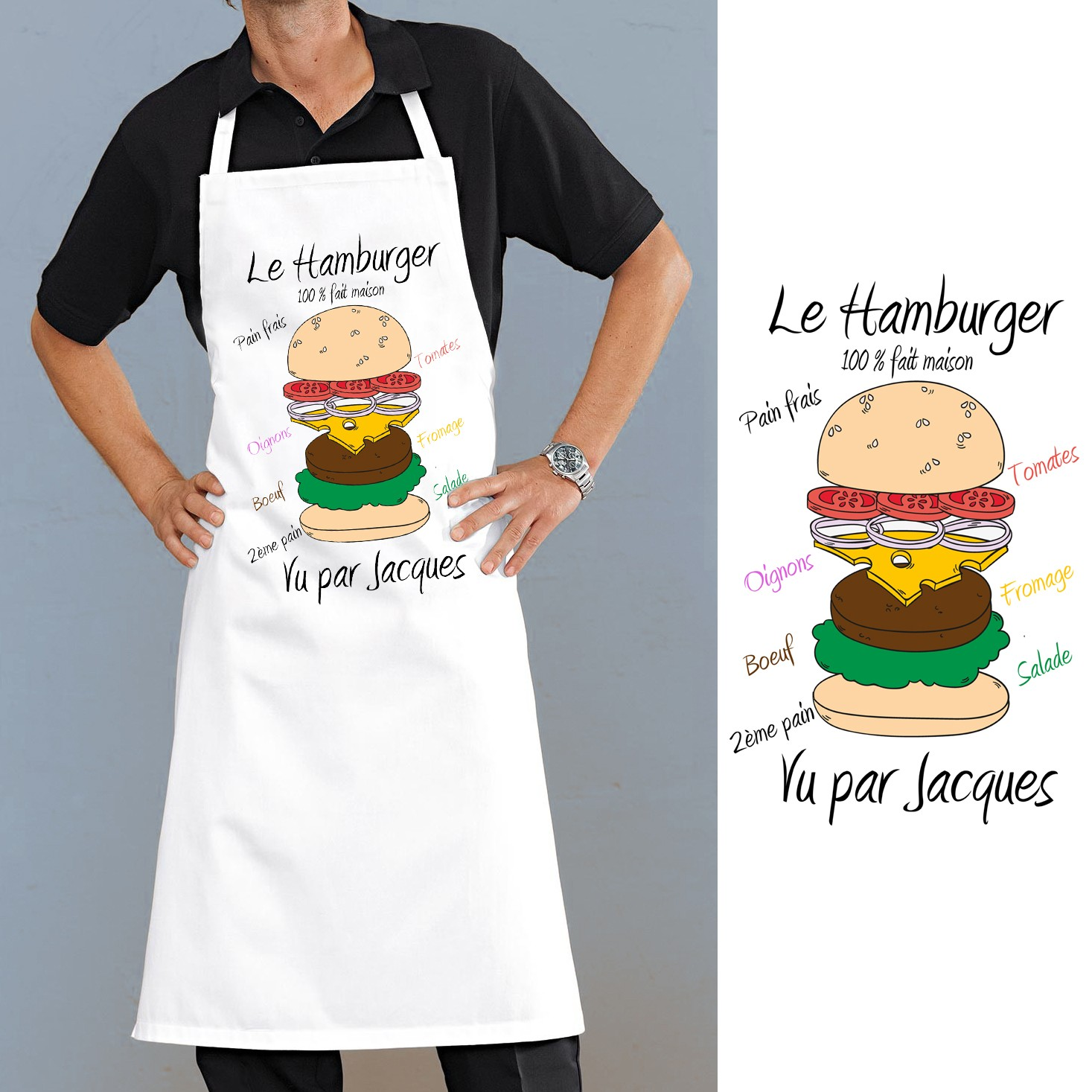 tablier de cuisine motif hamburger personnalis cadeau original. Black Bedroom Furniture Sets. Home Design Ideas