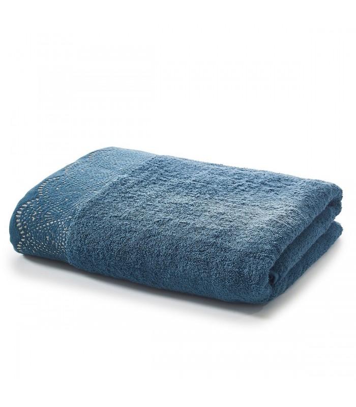 Drap de bain avec dentelle bleu brodé