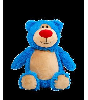 Ours en peluche bleu brodé