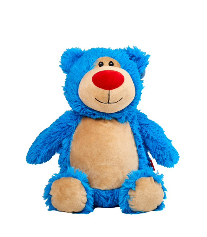 Ours bleu peluche brodé