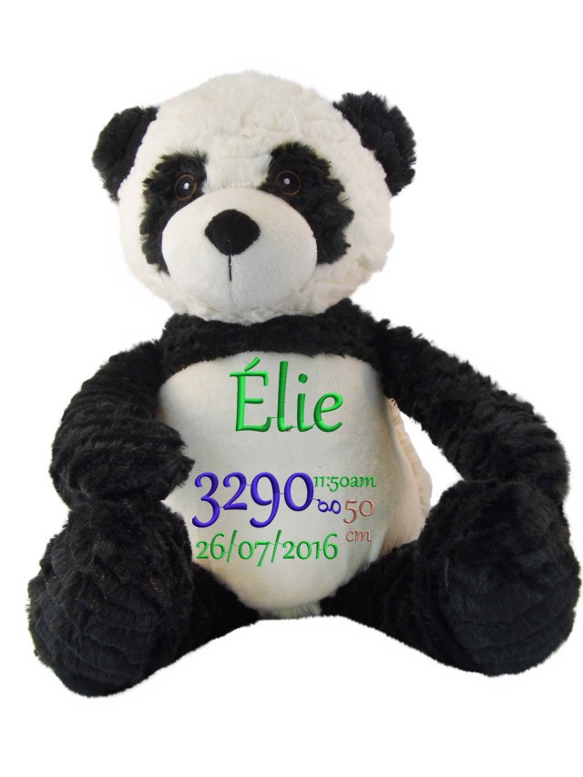 Panda en peluche brodé