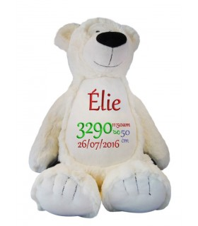 Peluche sac ours blanc brodé