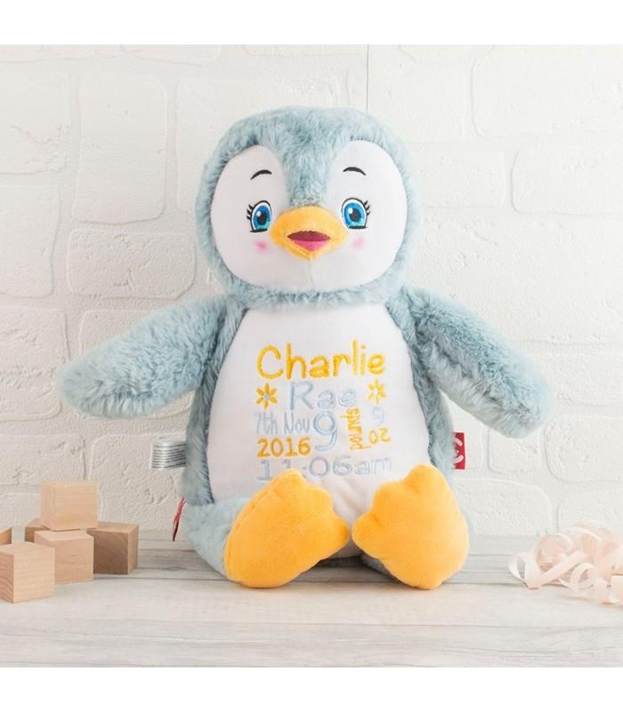 Pingouin doux peluche brodé