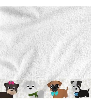 Serviette brodée motif chien