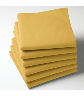 Serviette de table jaune moutarde brodée
