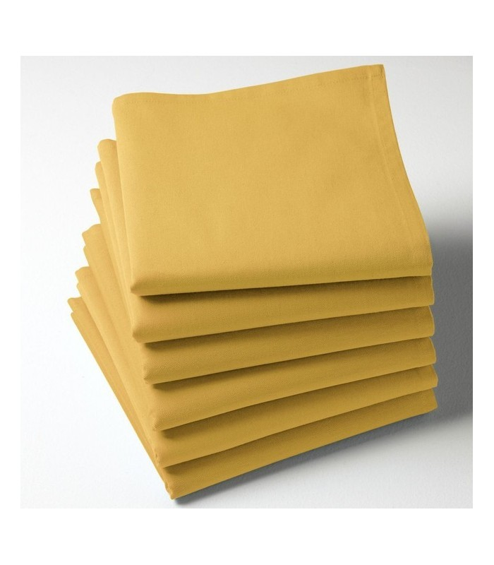 Serviette de table jaune moutarde brodée