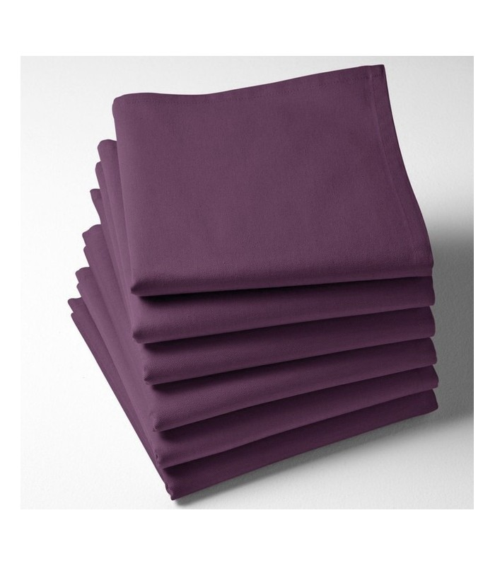 Serviette de table violette brodée