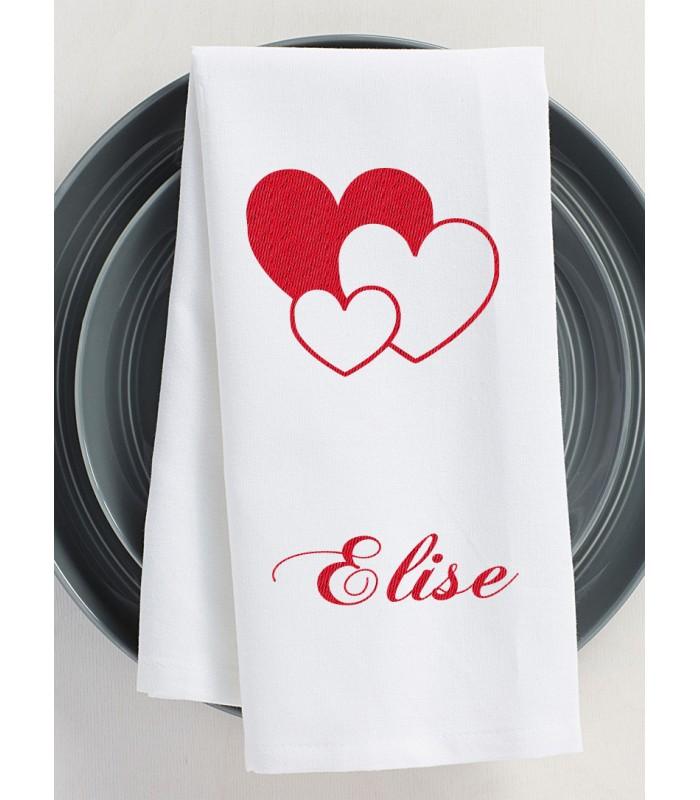 Serviette de table blanche motif coeur