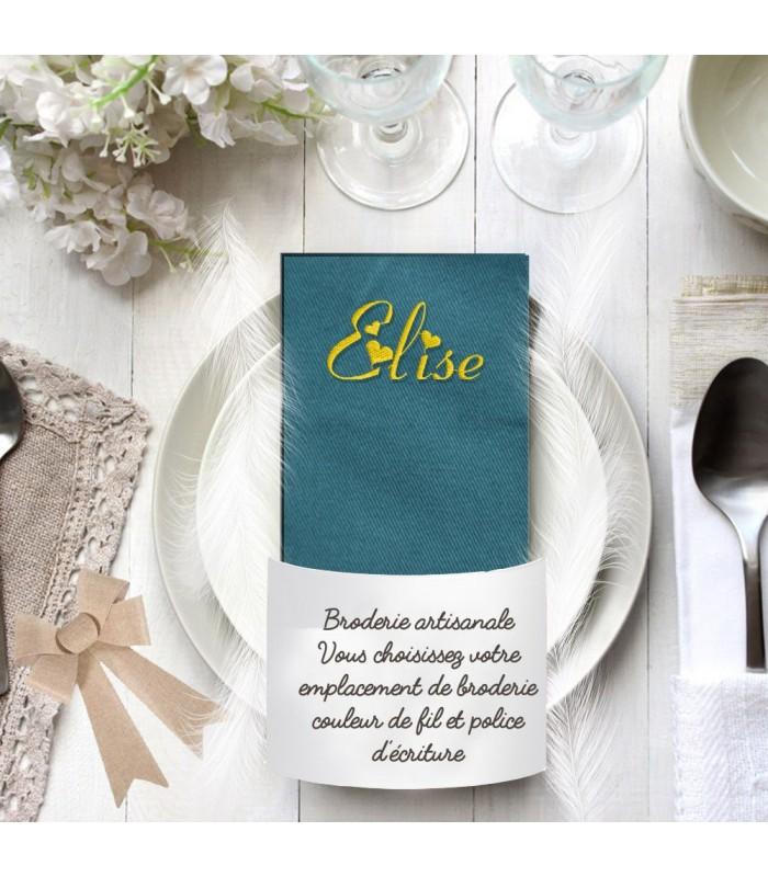 Serviette de table bleu/vert de prusse