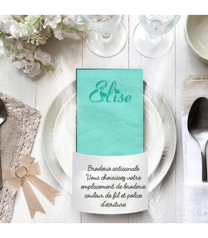 Serviette de table vert eau brodée