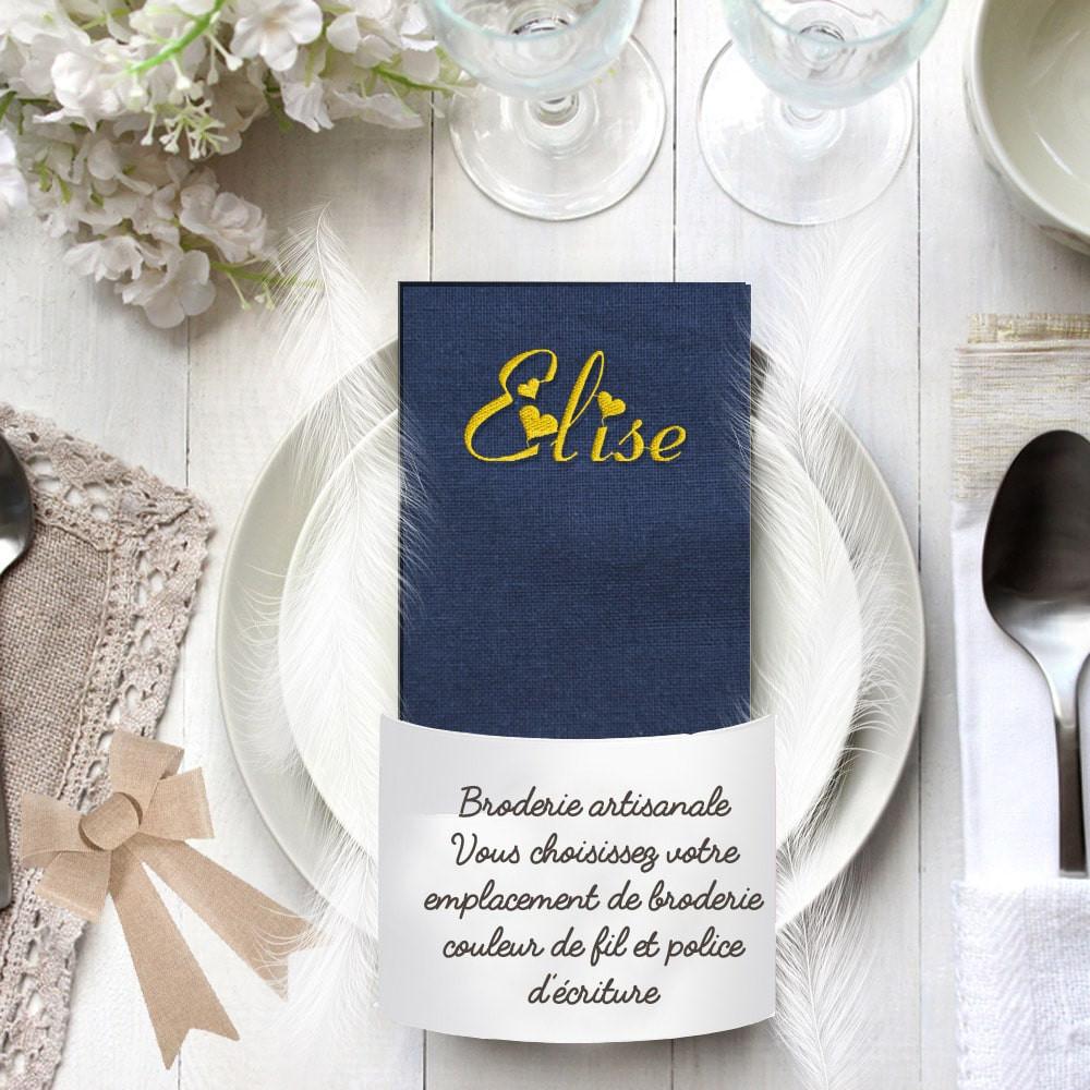 Serviette de table brodée bleue