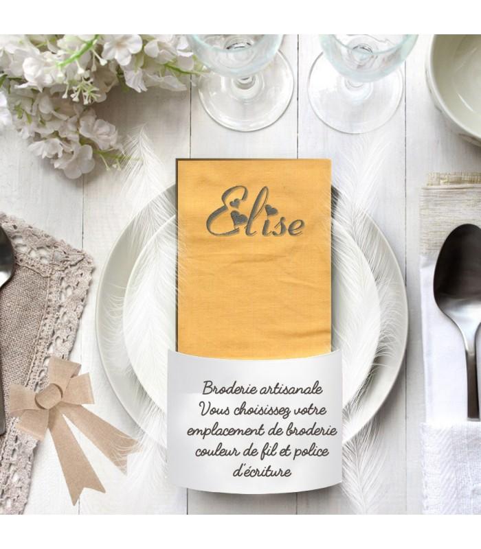 Serviette décoration table brodée