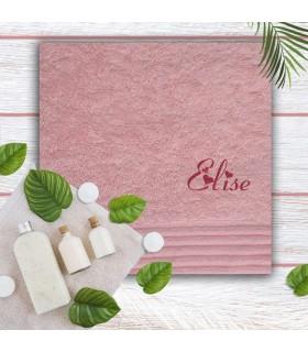 Drap de bain brodé rose clair