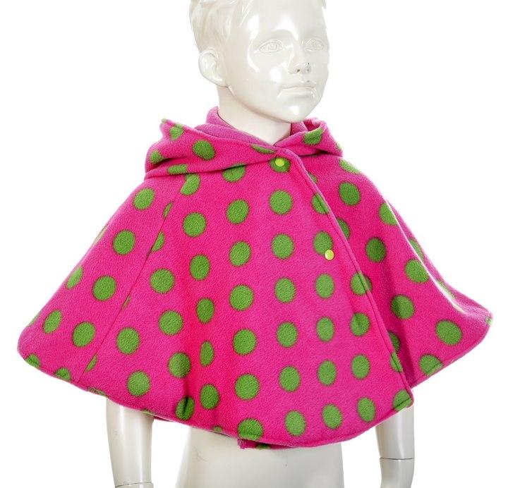Poncho rose pois vert
