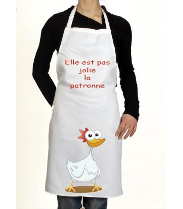 Tablier de cuisine rigolo patronne for Patron tablier original femme asnieres sur seine