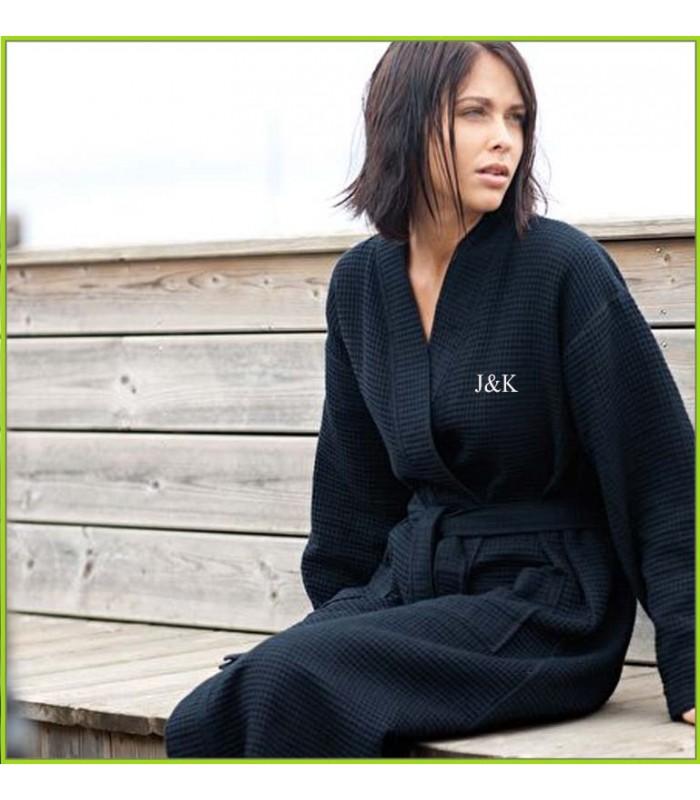 Peignoir Kimono noir avec broderie