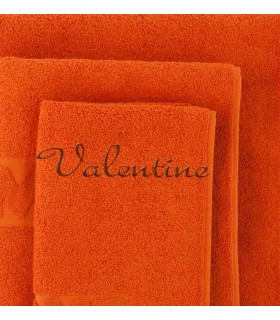 broderie sur serviette de bain couleur orange