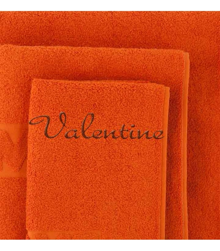 serviette brod e orange cadeau broderie pas cher pour b b avec pr nom. Black Bedroom Furniture Sets. Home Design Ideas