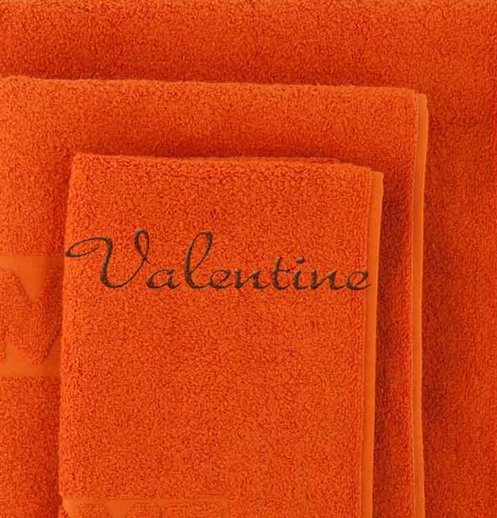 serviette de toilette brod e orange. Black Bedroom Furniture Sets. Home Design Ideas